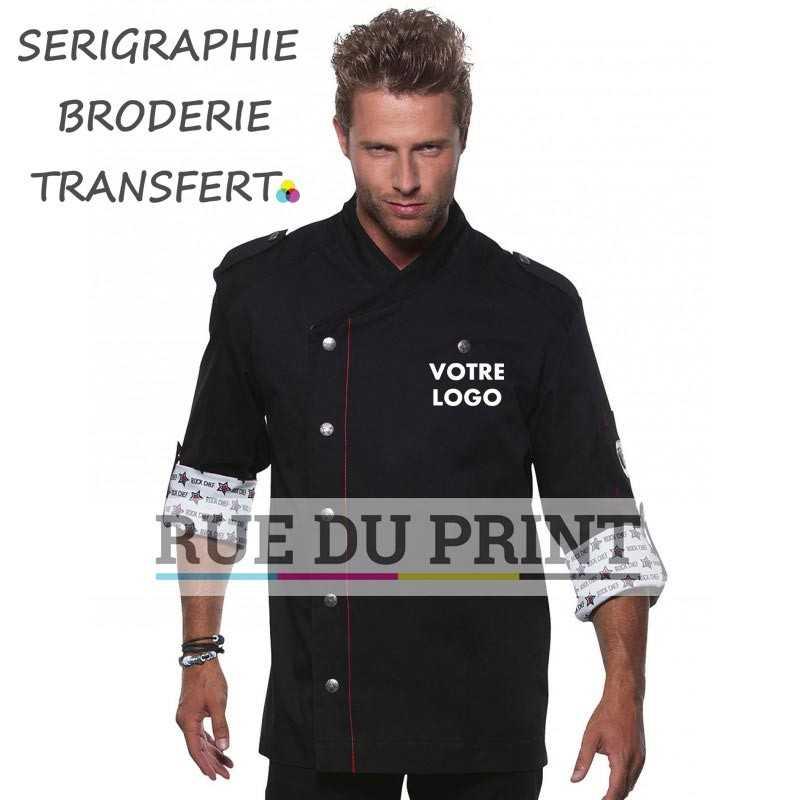 """Veste chef """"Rock chef"""" publicité noir/blanc avec logo 100% coton prérétréci et 100% polyester"""
