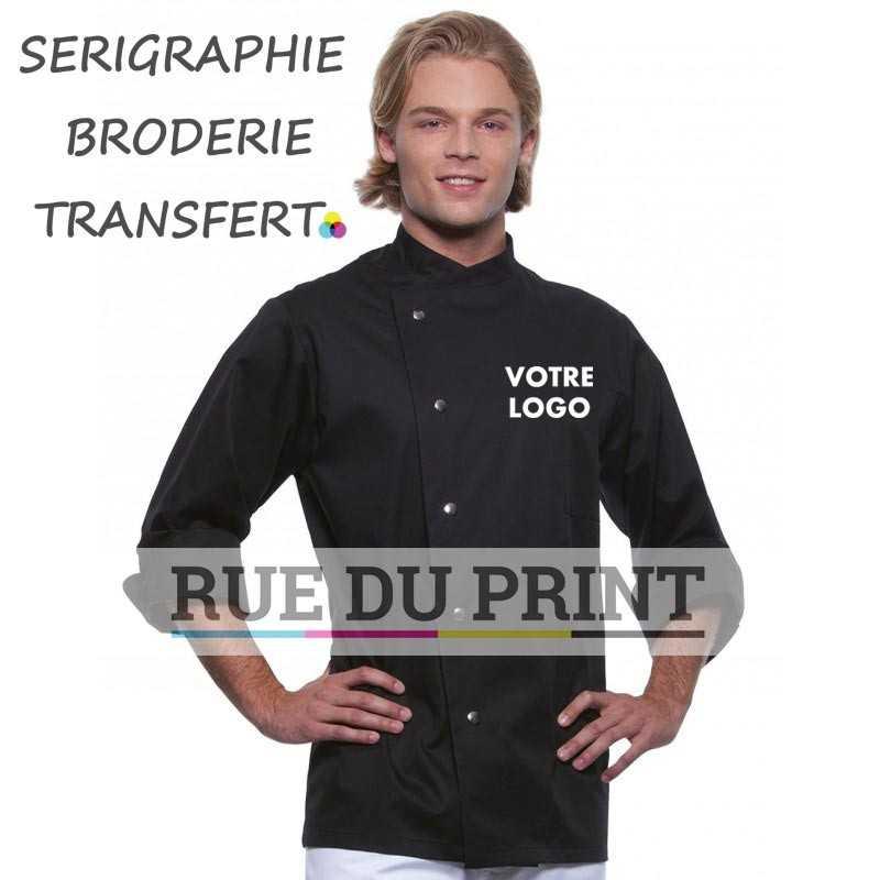 Veste chef personnalisée manches longues noir 215 g/m² 65% polyester, 35% coton prérétréci de grande qualité