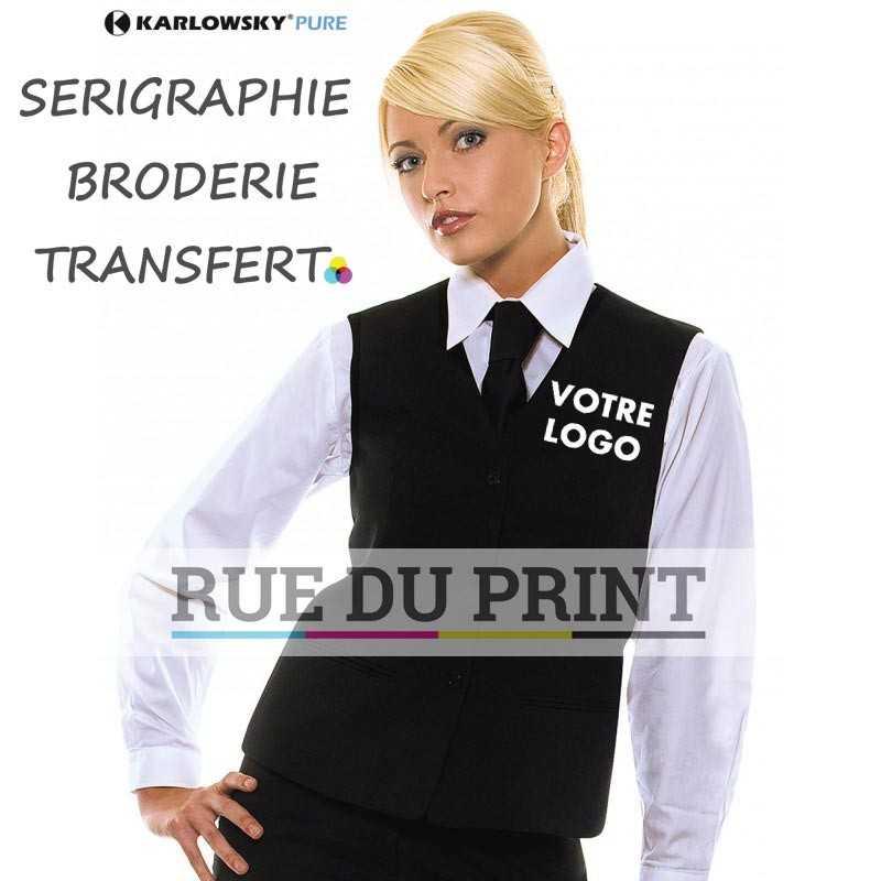 Gilet personnalisé femme 100% polyester 3 boutons 2 poches latérales, poche à l'intérieur