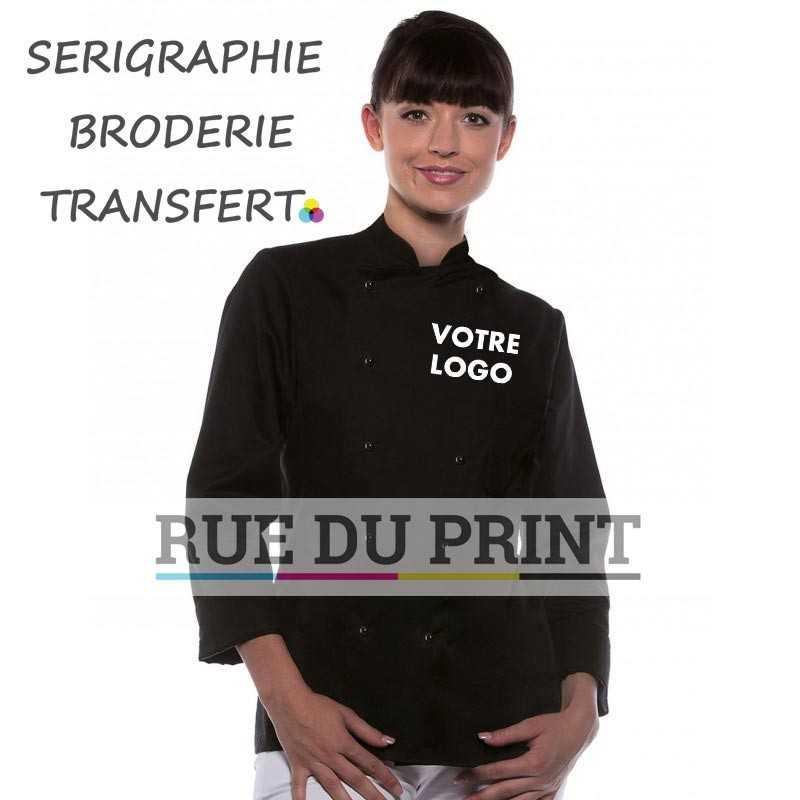 Veste chef personnalisée noir unisexe avec logo 185 g/m² 100% coton 10 boutons de même couleur