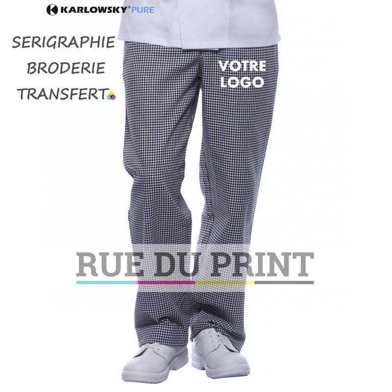 Pantalon personnalisable blanc 240 g/m² 100% coton 2 poches latérales taille élastiquée