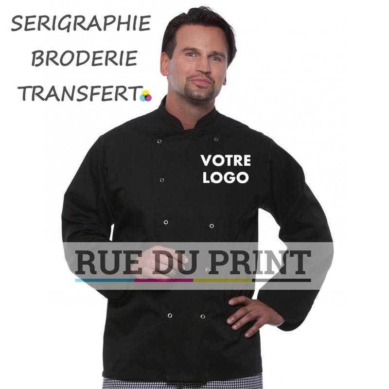 Veste chef publicité noir unisexe 215 g/m² 65% polyester, 35% coton 10 boutons doublés avec 10 boutons pression