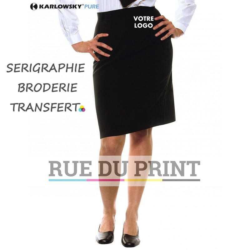 Jupe personnalisée noir serveuse 100% polyester coupe regular 2 poches de côté