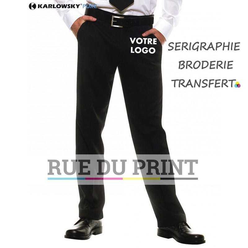 Pantalon personnalisée noir serveuse 100% polyester coupe regular 2 poches de côté, 1 poche à l'arrière