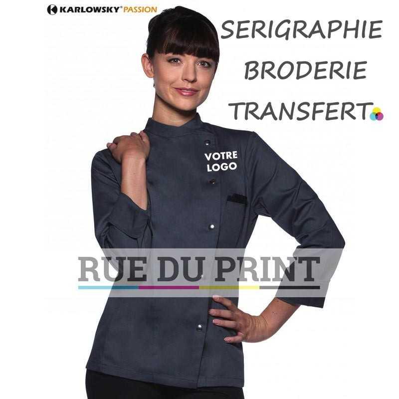 Veste chef publicitaire anthracite avec logo femme 215 g/m² 65% polyester, 35% coton 5 boutons pression