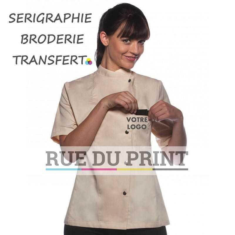 Veste chef personnalisée crème avec logo femme Greta 215 g/m² 65% polyester, 35% coton 5 boutons pression