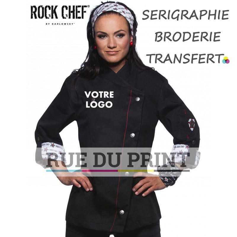 Veste chef personnalisée noir avec logo femme 4 boutons avec boutons-pression 100% coton prérétréci 100% polyester