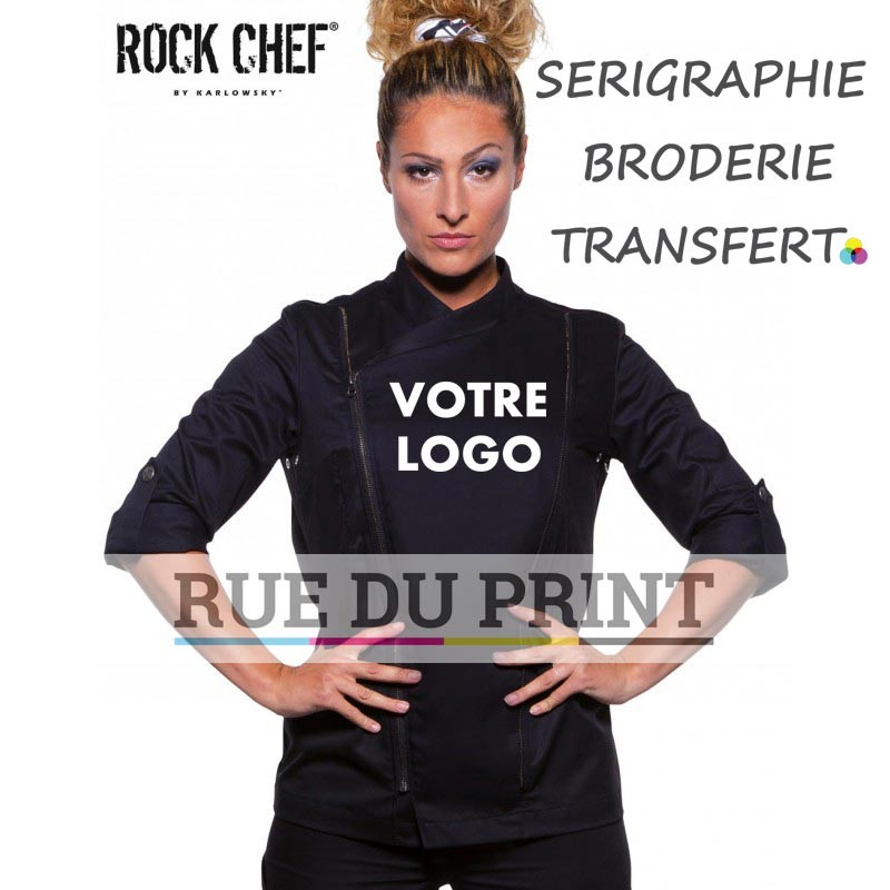 Veste chef personnalisable femme - Zip White / Black 210 g/m², 100% coton 85 g/m², 100% polyester
