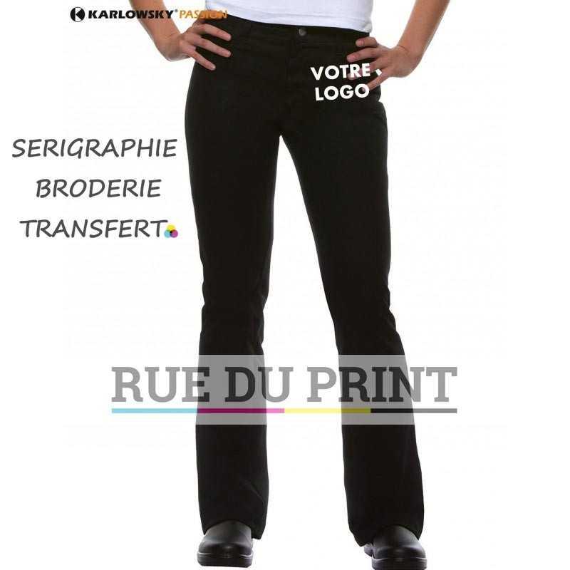 Pantalon femme publicitaire Black 65% polyester, 35% coton, irrétrécissable, 270 g/m² 2 poches latérales, 2 poches plaquées