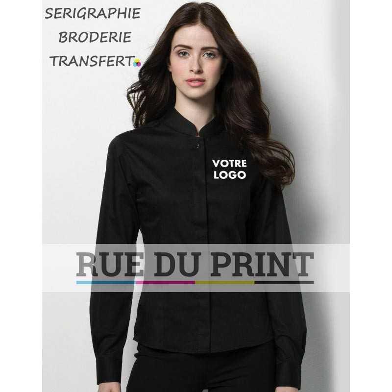 Chemise personnalisée avec logo Bargear™ Mandarin femme 120 g/m² 57% coton, 40% polyester, 3% lycra