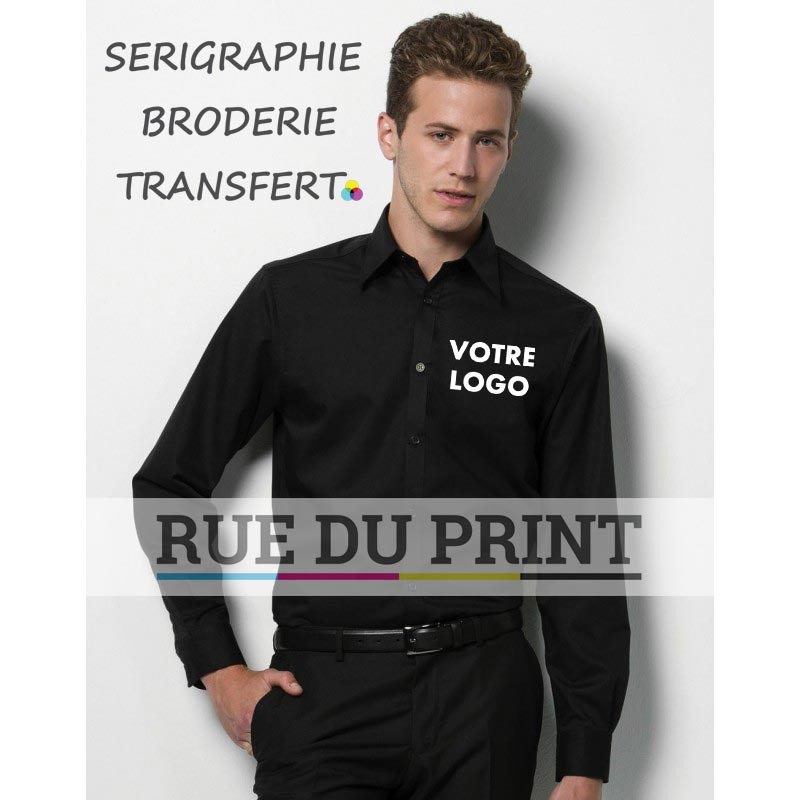Chemise publicité avec logo manches longues 120 g/m2 57% coton, 40% polyester, 3% lycra