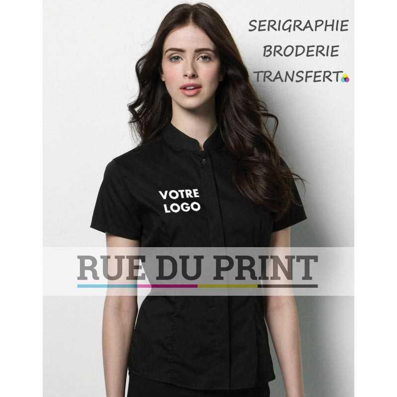 Chemise femme publicité avec logo Bargear™ Mandarin 57% coton, 40% polyester, 3% lycra, 120 g/m²