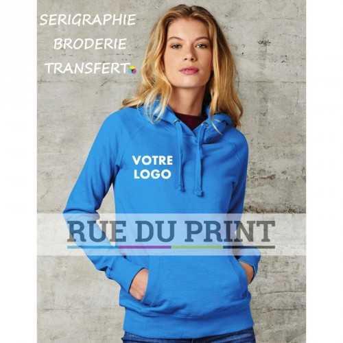 Sweat publicité Raglan Hoodie Femme 80% coton, 20% polyester, 300 g/m2 Coupe cintrée féminine