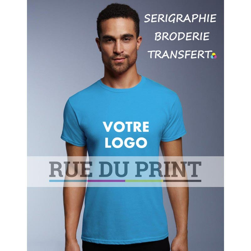 Adulte publicité bleu caraïbe profil Fashion Tee-shirt 100% coton, ringspun, 150 g/m² Heather grey: 90% coton, 10% polyester, a