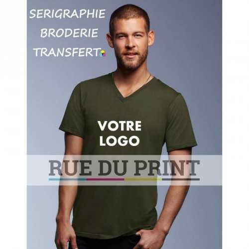 Adulte publicité vert armé profil Fashion Col V Tee-shirt 100% coton ringspun et prérétréci, 150 g/m² Heather grey: 90% coton,