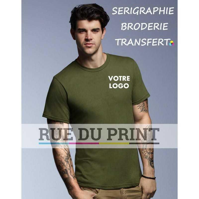 AnvilOrganic™ publicité vert face Fashion Tee-shirt 100% coton certifié organique ringspun et prérétréci, 155 g/m² Heather gre