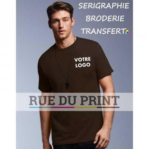 Tee-shirt publicité marron profil Organique 100% coton certifié organique ringspun et prérétréci, 170 g/m² bande de propreté su