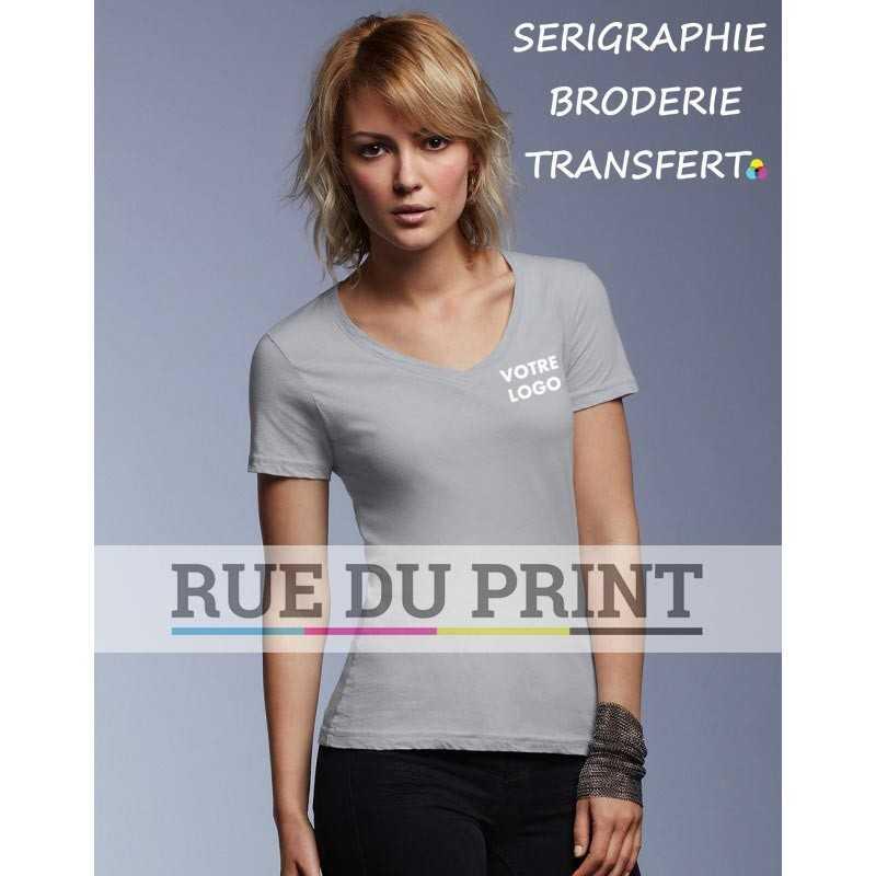 Femme personnalisable gris clair profil Featherweight Col V Tee-shirt 100% coton ringspun prérétréci, 110 g/m² col V col cousu