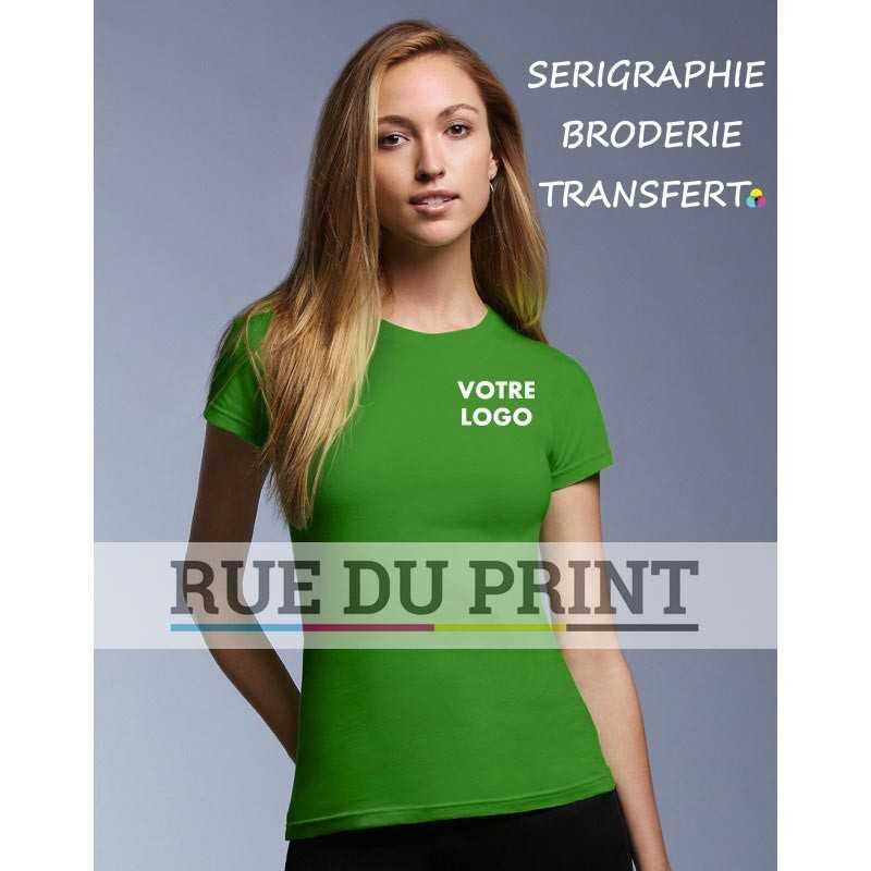 Femme publicité vert pomme profil cintré Fashion Tee-shirt 100% coton ringspun et prérétréci, 150 g/m² Heather grey: 90% coton,