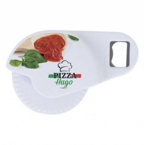 Roulette pizza et décapsuleur blanc