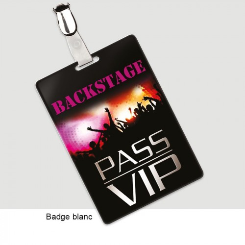 Badges rigides grands formats personnalisé PASS VIP