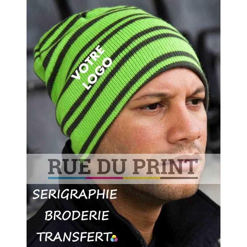 Bonnet publicité vert clair/noir avec logo Reversible 100% polyacrylique Tricot épais en jauge 6