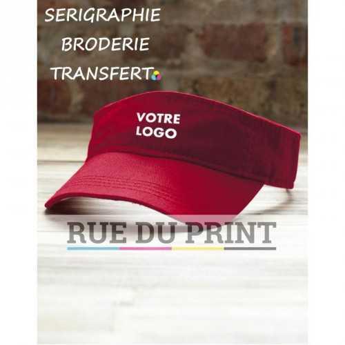 Casquette publicitaire rouge avec logo visière 100% coton twill 3 panneaux, petit profil