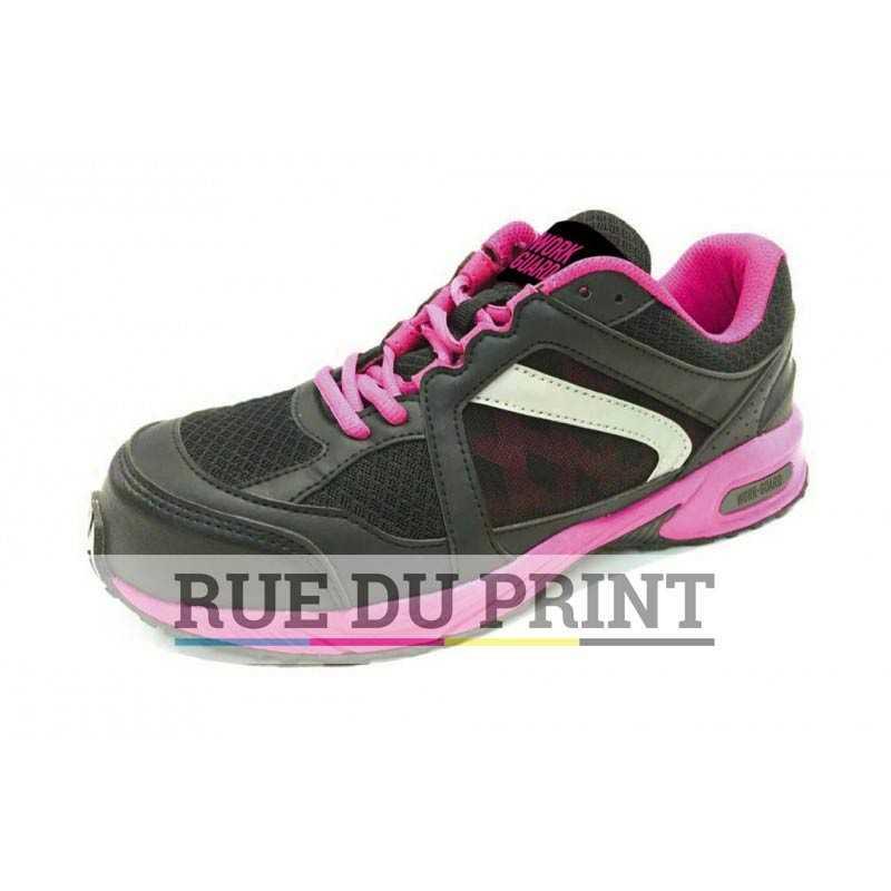Women's Safety publicité Trainer Tige: polyuréthane avec filet durable Lacets Pink et ensembles de rechange en Pink/Black et Pi