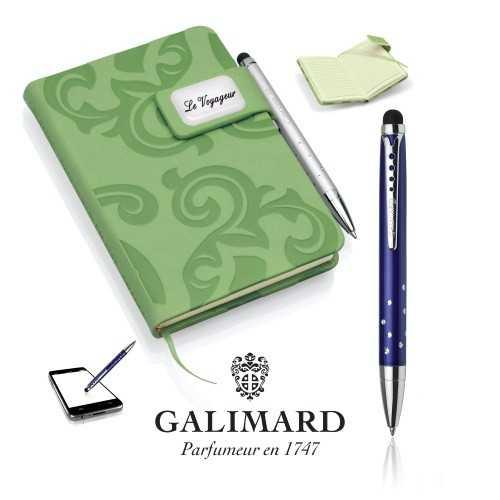 Set bloc-notes GRACE vert/stylo à bille touch STAR de GALIMARD