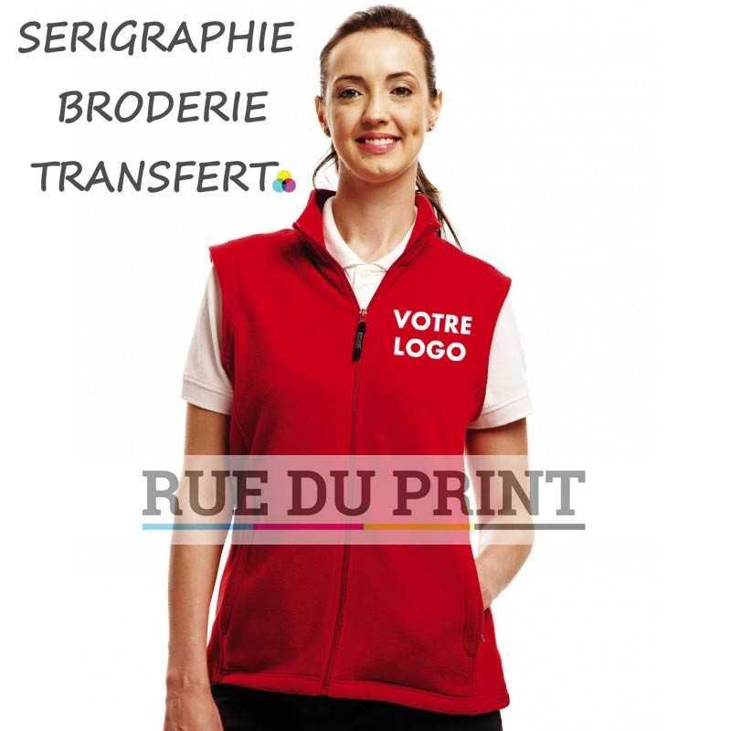 Bodywarmer publicité Mirco femme 100% polyester (polaire série 210 anti-peluche) léger, fermeture à glissière poches latérales