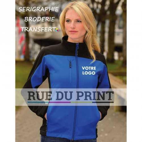 Veste publicité femme Softshell Ext: 97% polyester, 3% élasthanne, 300 g/m² Int: 100% polyester (polaire)