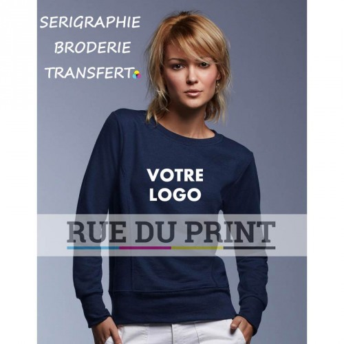 Sweatshirt publicité femme Terry 60% polyester (polaire terry), 40% coton ringspun, 237 g/m² bande de propreté contrastée grise