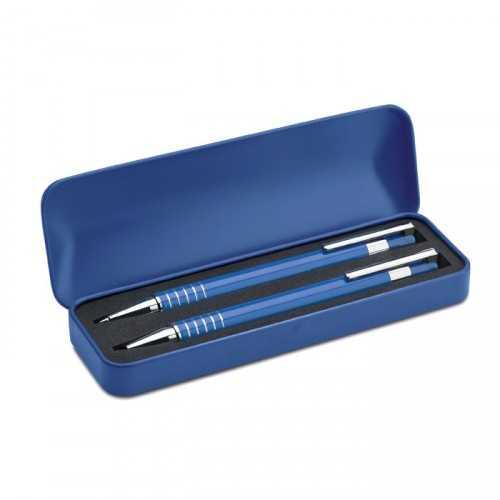 ALUCOLOR Set personnalisable stylo en aluminium comprenant un stylo bille poussoir à encre bleue et un portemine dans un coff