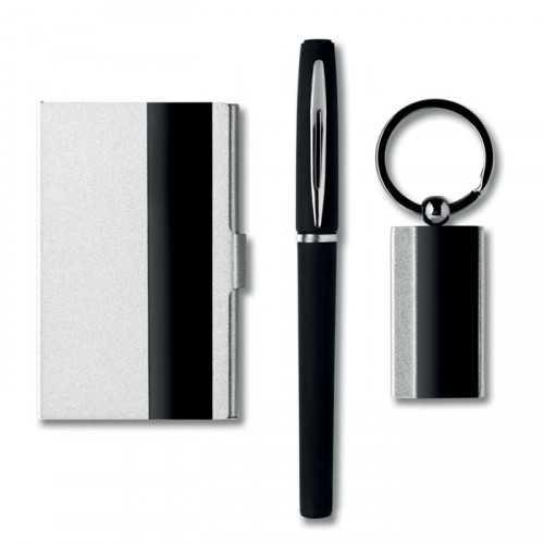 DORO Set personnalisable de bureau comprenant , un stylo, porte-clés en alliage de zinc et un porte-carte assorti. Présentés d
