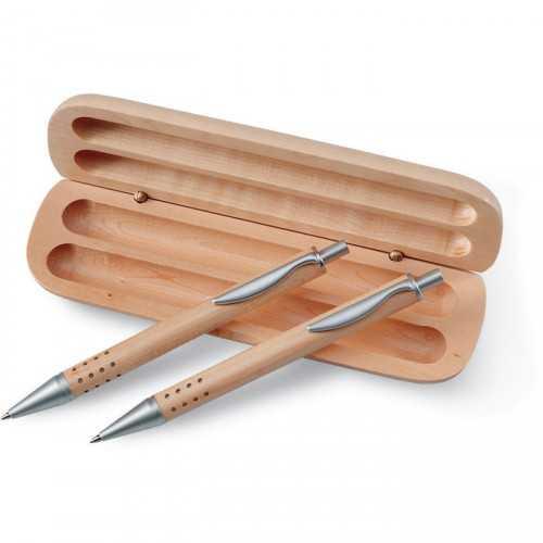 DEMOIN publicitaire Ensemble comprenant un stylo et un porte-mine dans une boîte en bois.