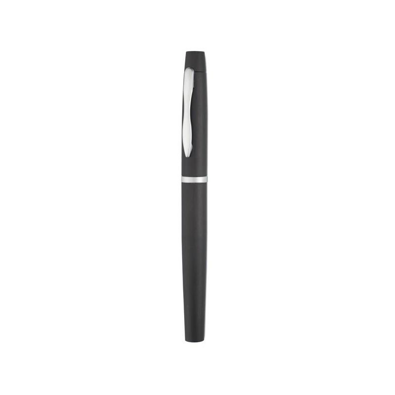 TRUHAN Stylo personnalisable roller aluminium anodisé, finition brossée. Encre noire.