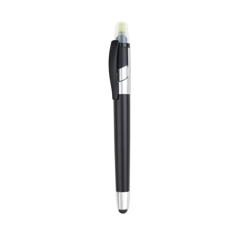 TRITON Stylo personnalisable à bille multifonction en ABS, combinaison noir mat et laquage argenté.
