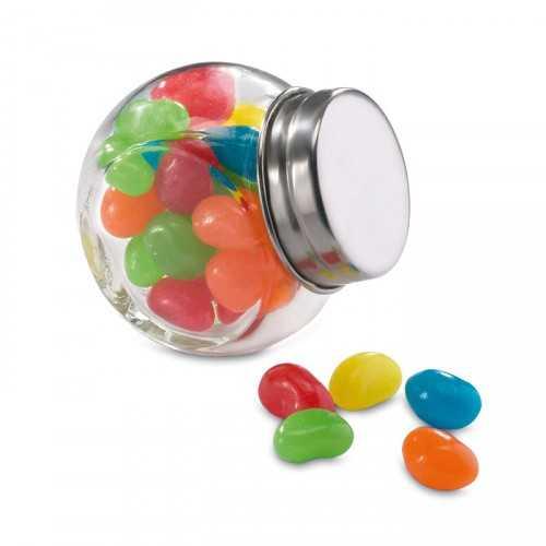 BEANDY bocal personnalisable en verre avec bouchon métallique. 30 g de bonbons.