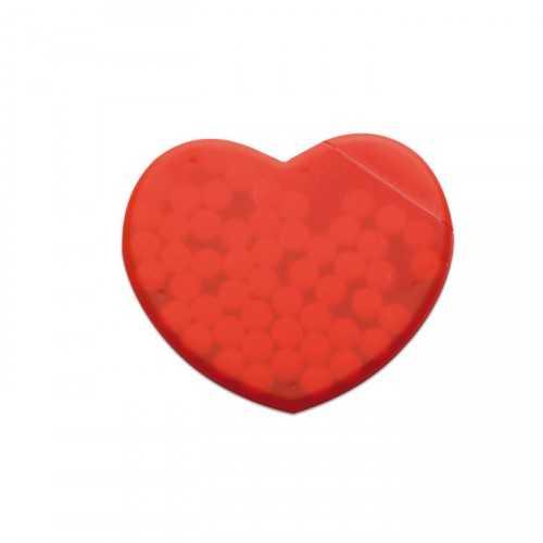 CORAMINT Boite personnalisable distributeur de pastille de menthe en forme de cœur en polypropylène rouge translucide.