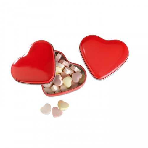LOVEMINT Boîte personnalisable à bonbons en forme de cœur avec 24 gr de sucreries.