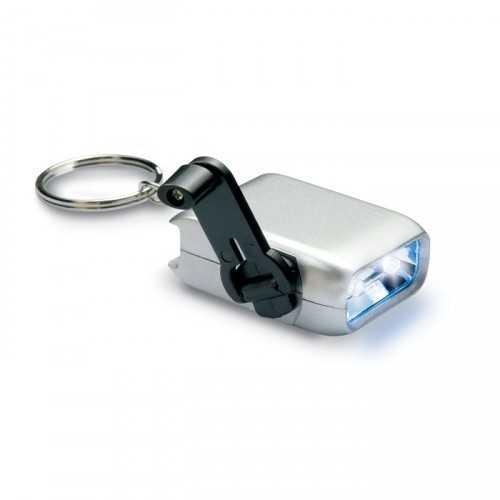 Mini torche dynamo à 2 LED sur porte-clés