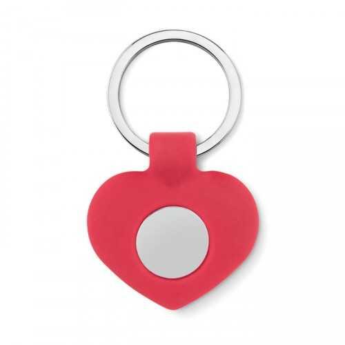 CUORE Porte clés personnalisable cœur en silicone avec jeton en métal.