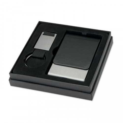 KOBE Ensemble personnalisable porte-clés et porte-cartes présenté dans une boite noire.