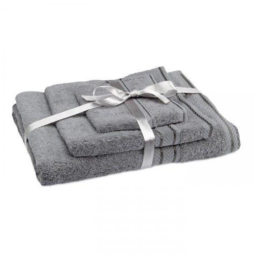 THERMA Ensemble publicitaire de 3 serviettes pour le bain : drap de bain (137 x 70 cm), serviette à mains (70 x 40 cm) et servie
