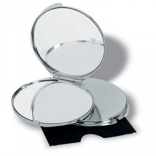 GUAPAS Miroir personnalisable de luxe de couleur chromé avec deux miroirs dont l'un agrandit, dans un étui en velours.