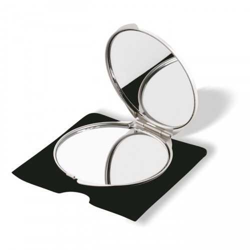 SORAIA Double miroir publicitaire couleur aluminium avec un des deux miroirs agrandissant, dans un étui de velours.
