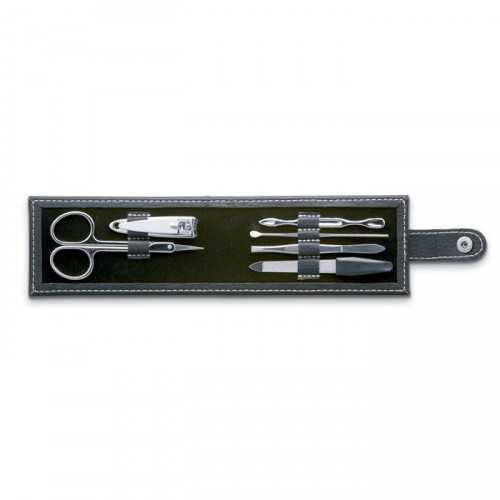 NAILKIT Set personnalisable manucure en pochette PU. 6 pièces en Acier inox.