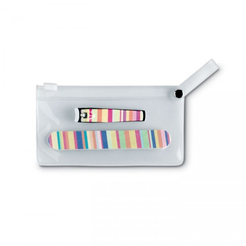 ARME Set publicitaire de manucure coloré dans une pochette transparente en PVC.