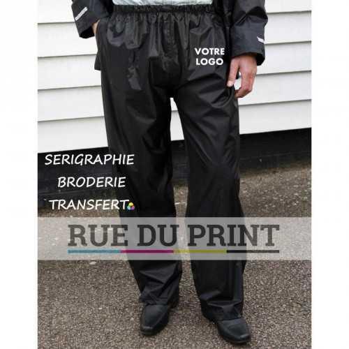 Pantalon publicité travail Stromdri 100% polyester (190T) avec enduit PVC Taille élastiquée Fentes à la taille pour accéder au