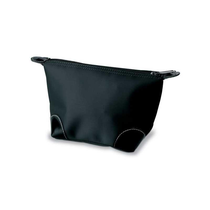 CHANTELLE Trousse personnalisée de maquillage zippée avec applications PVC de couleur noire sur les coins. 190T nylon.